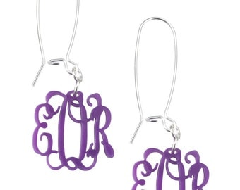 Acrylic Monogram Earrings - Gold Wire Only available at this time