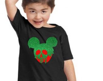 Mickey Snow White Poison Apple Glitter Black Shirt