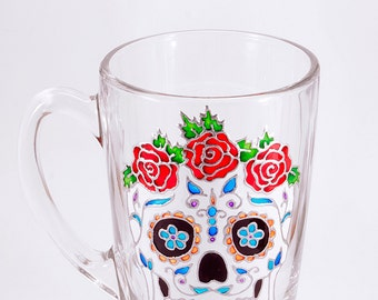 Sugar Skull Mug, Sugar Skull Gift, Halloween Mug, Halloween Gift, Skull Mug, Skeleton Mug. Dia de los Muertos, Day of the Dead