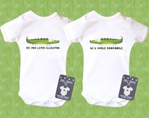 Cute Baby Twins Clothes. See You Later Alligator, In A while Crocodile. Funny Animal Twin Bodysuits. Baby Twin Gifts. Short or Long Sleeve