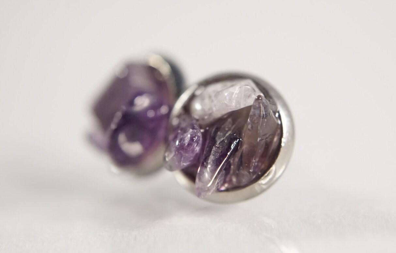 amethyst studs earrings raw crystal studs by yarimaniedesigns