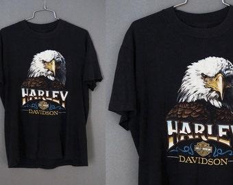 1984 Rare Harley Davidson Bald Eagle Motorcycle Bike Biker Graphic 3D Emblem Official Tee T-Shirt