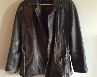 Vintage 1980's Brown Distressed Leather Motorcycle Style Jacket. Cafe Racer.