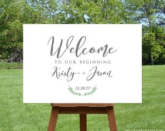 PRINTABLE Large Wedding Welcome Sign, Custom Wedding Entrance Sign, Welcome to Our Beginning, Wedding Decor, Digital File