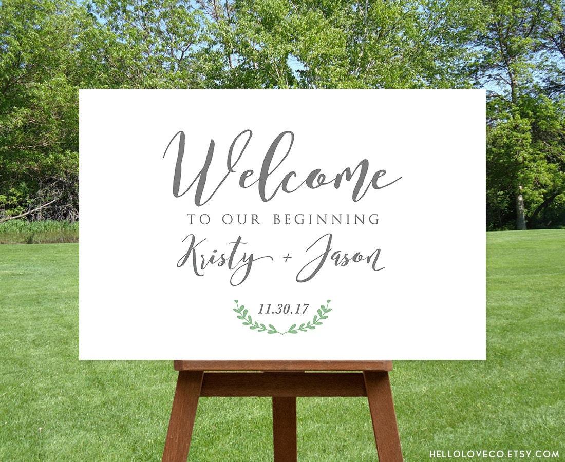 Printable large wedding welcome sign custom wedding entrance for Wedding signs printable