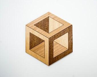 Sous-verres hexagonal HEXA (set de 6) - Merisier / Acajou / Frêne
