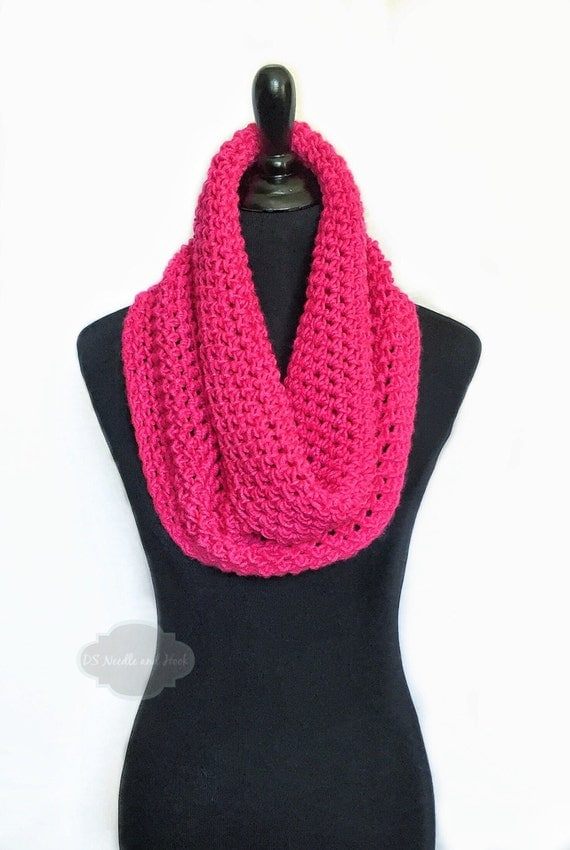 Pink Crochet Scarf, Pink Crochet Cowl, Fuschia Infinity Scarf, Hot Pink Neck Warmer, Bright Pink Crochet Scarf, Snood Scarf