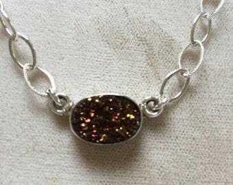 Plum Brown Druzy Necklace
