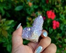 Rainbow Opal Aura Cactus Crystal Cluster Point, Aura Spirit Quartz Cluster, Angel Aura spirit quartz point, healing Spirit Fairy Quartz