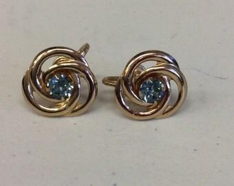 Faux topaz 3 pcs. set earrings and brooch set