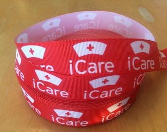 "I Care Red Grosgrain Ribbon - 1"", Nurse Ribbon, Medical Ribbons, Health Care Ribbon,Healthcare Ribbons, Nursing Week, Choose from 1-10 yards"