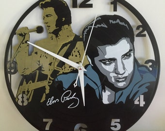 "Elvis Presley vinyl record wall clock - upcycled from an original 12"" vinyl record"