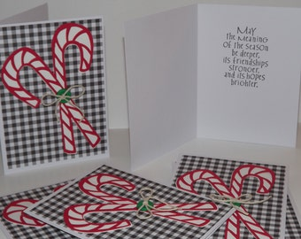 Christmas Greeting Card Set of 6 Candy Canes