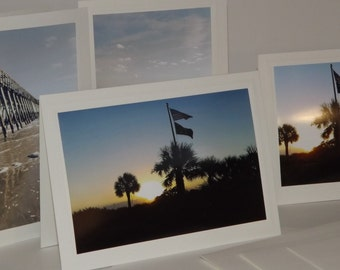 By The Sea Photo Cards Beach Scene Sunrise Scene Blank Note Cards Set of 4