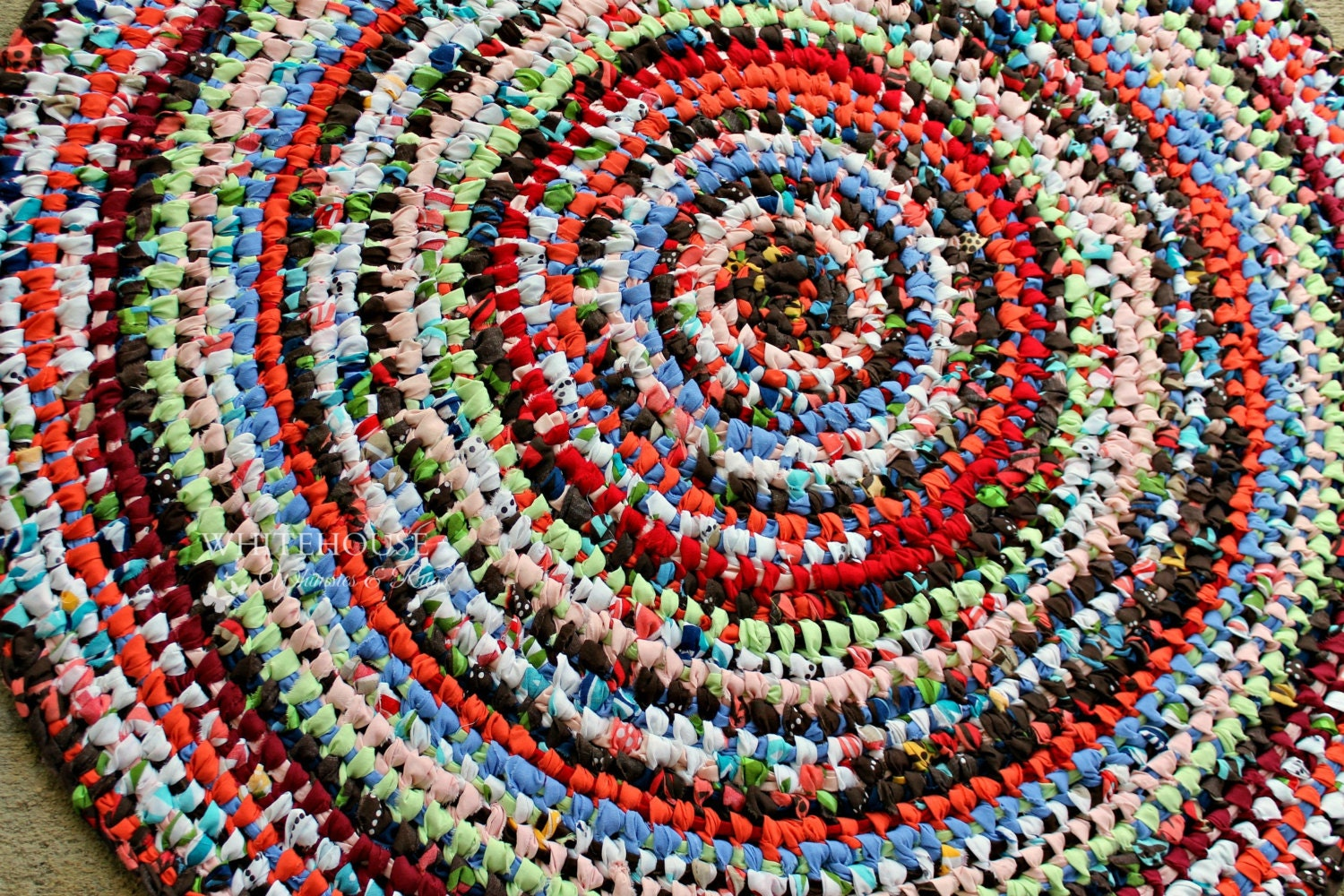 37 Round Amish Knot Rag Rug Toothbrush Rug Multi Color