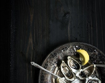 Food Photography, Oysters, Still Life, Food Art, Home Decor, Restaurant Decor, Wall Art, Kitchen Decor, Gift Ideas