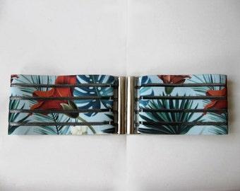 CLEARANCE Elastic belt / Waist cincher belt Floral Stretch Tropic flower print belt womens cinch Colorful unusual belt Summer sale
