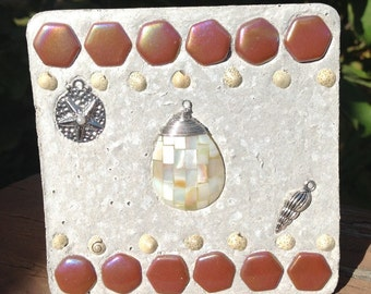 Mosaic Mixed Media Shell Beach Ornament, Small gifts