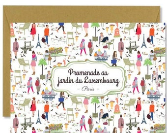 """Postcard """"Promenade au jardin du Luxembourg"""""""