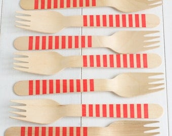 Red Stripe Wooden Cutlery - Set of 10 Red Striped Wooden Forks, Spoons, or Knives- Great for Valentine's Day, showers & dinner parties!