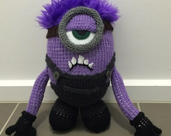 Crazy Purple Minion Knitting Pattern PDF