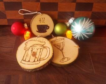 Personnalized, Wood slice Christmas tree ornament, custom, rustic, decoration - Boules de Noel en tranche de bois, sur mesure, rustique