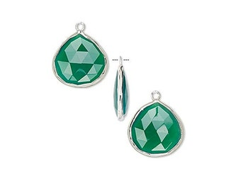 Large Green Onyx Teardrop Pendant, Sterling Silver Setting, Earring Component, 20x20mm
