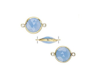 Round Link,  Blue Chalcedony, Gold Vermeil, 12mm, Connector, Station