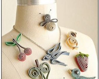 "Zipper Jewelry PATTERN ""Springtime Zips"""