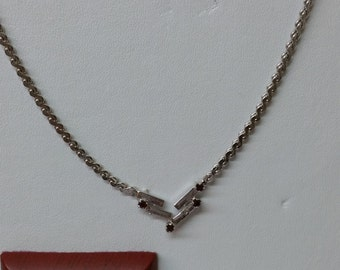 50s chain silver 835 Garnet stones old SK518