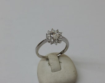 Ring Silver 925 crystals flower elegant SR677