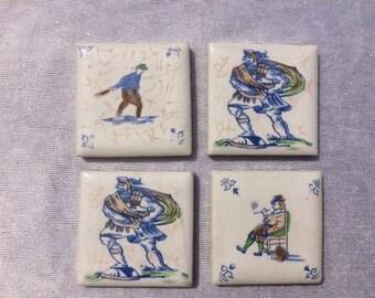 4 Miniature Tiles Delfts Blauw Tiles Vintage Small Tiles Vintage Mosaic Tiles