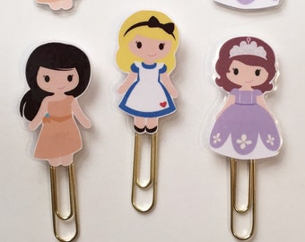 Princess Pocahontas Alice Sofia Double Sided Planner Bookmark Clip - Made to Order