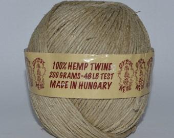 Medium - thick hemp twine ; 48 lb. test strength (3mm) : 200 gram ball / Natural fiber