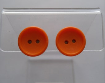 Button Earrings - Vintage Orange Button Earrings