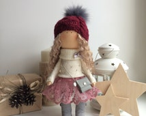 Love doll Tilda doll Art doll Holiday doll handmade red blonde colors Soft doll Cloth doll Fabric doll winter toy by Master Diana Etkind