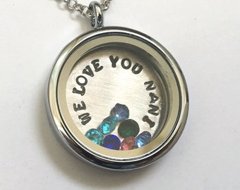 We Love You Nani - Floating Charm Locket - Memory Locket - Custom Hand Stamped Gift for Mom or Grandma