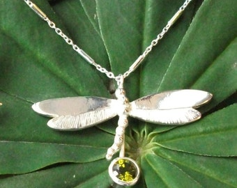 Dragonfly Necklace with Olivine CZ