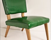 Mid Century Modern Chair GREEN vtg 50s vinyl lounge slipper danish space age 60s eames era side accent living room steel mcm mod naugahyde