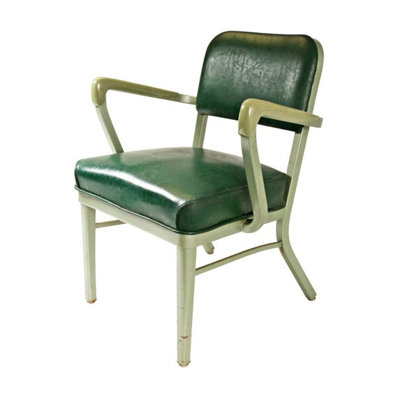 Vintage Industrial Arm Chair Metal Desk Office Green Steel