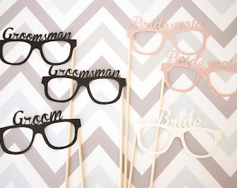 Wedding Party Photo Booth Props, Wedding Photo Booth Props, Bride and Groom Photo Booth Props