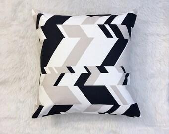 "Navy Grey & White Geometric Pillow Cover | Cushion Cover | Throw Pillow Cover | Decorative Pillow Cover | Envelope Closure | 18""x18"""