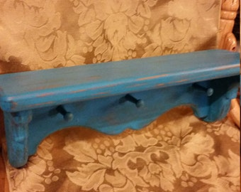 Turquoise Shelf; Painted and Distressed Turquoise Wooden Shelf; Turquoise Wooden Shelf; Painted Wooden Shelf