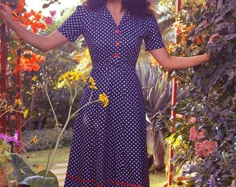 1940s style polka dot dress, 40s shirtwaist dress, 1940s tea dress, WW2 sweetheart