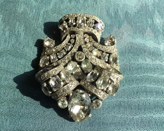 Eisenberg Fur Clip,  Rhinestone and Silver Clip,  Eisenberg Medallion, Eisenberg Rhinestone Clip