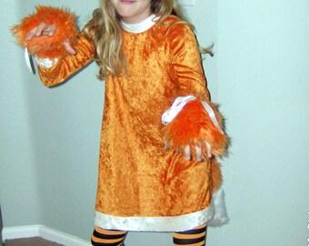 Fur Fox Animal Halloween Costume Dress With Headband Girls Tween Ready To Ship