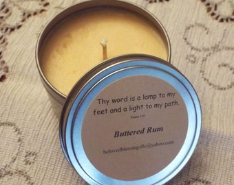 Buttered Rum 8oz Soy Candle Tin