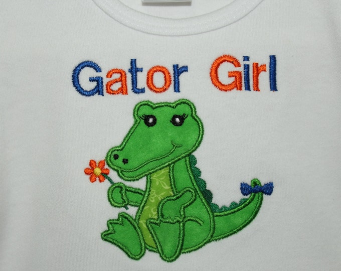 Florida Gator Girl t shirt, Florida t shirt, girls Gator shirt, Personalized Gator girl shirt, UF, University of Florida Girl shirt, Orange
