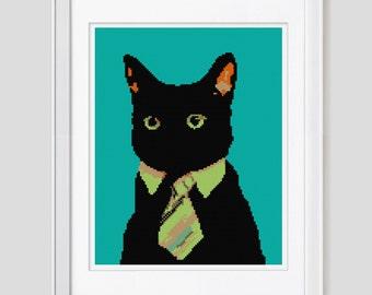 Cat cross stitch pattern, cat cross stitch, cat counted cross stitch pattern, modern business cat cross stitch pattern