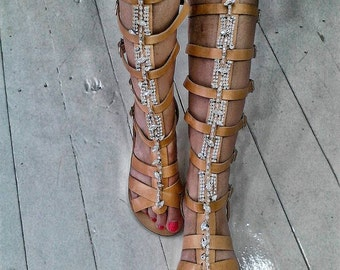 Greek gladiator sandals boots,real leather decorated with crystals